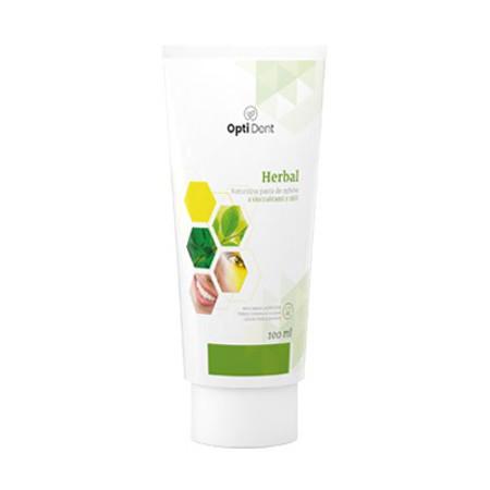 OptiDent Herbal pasta do zębów zawiera naturalne ekstrakty ziołowe, które wzmacniają zęby oraz poprawiają kondycję dziąseł.